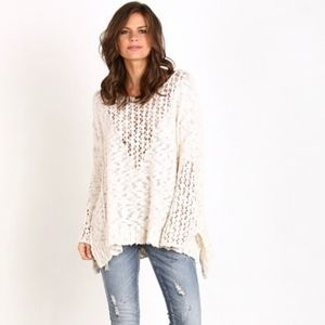Free People Pretty Pointelle Sweater Vee Ivory.